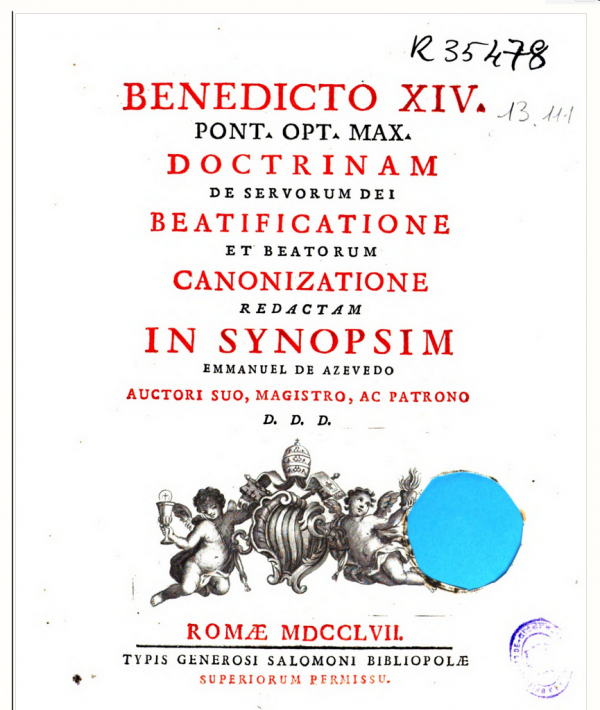 Livro De servorum Dei beatificatione
