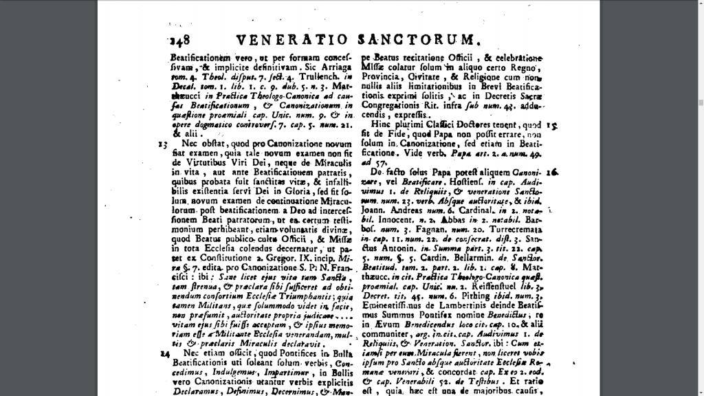 Veneratio Sanctorum definido em Prompta Bibliotheca de Lucius Ferraris